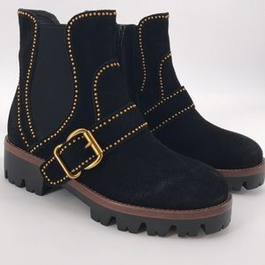 JEFFERY CAMPBELL BLACK SUEDE STUDDED BUCKLE BOOTS